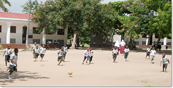 Students playing football